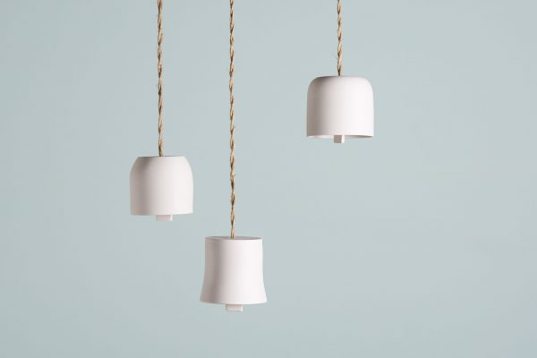 three white porcelain bells suspended with a coiled rope - handmade - Federica Ramacciotti