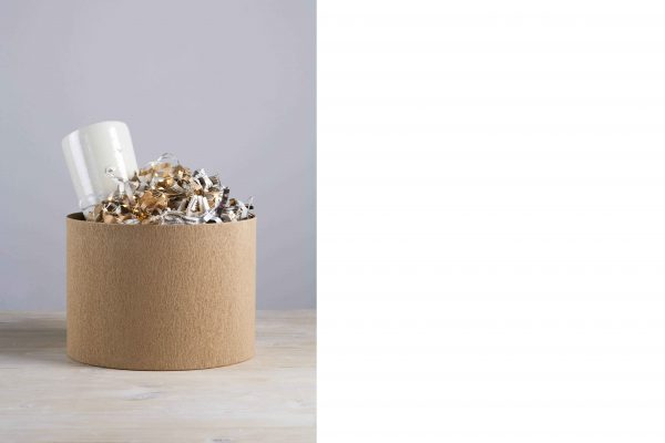 a cylindrical box with a vase coming out from the top - handmade - Federica Ramacciotti