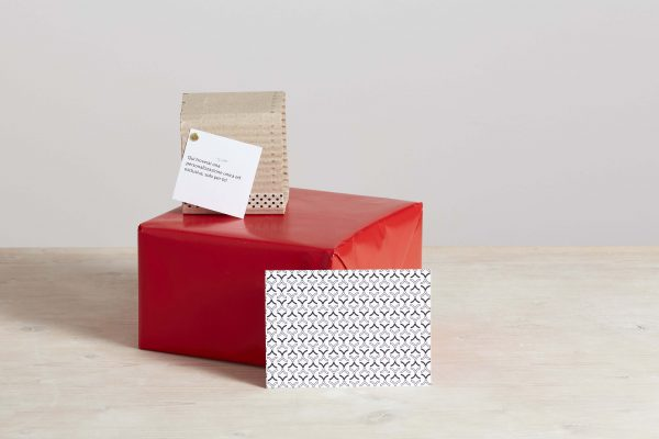 a red box, a brown box with cards and postcards - handmade - Federica Ramacciotti